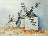 Wind, Hügel, Aquarellmalerei, Spanien