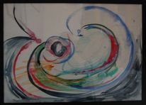 Aquarellmalerei, Abstrakt, Wirbel, Dynamik