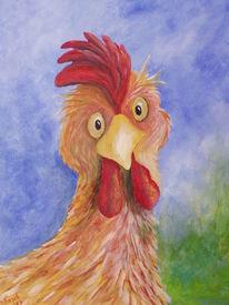 Karikatur, Acrylmalerei, Tiere, Huhn