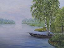 Wasser, Landschaft, Boot, Malerei