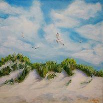 Wolken, Pflanzen, Möwe, Sand