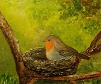 Vogel, Baum, Rotkehlchen, Grün