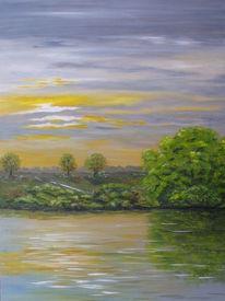 Landschaft, Wasser, Himmel, Malerei