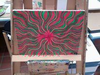 Krake, Rotkomplementäre, Acrylmalerei, Psychedelisch
