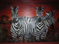 Acrylmalerei, Morgenrot, Malerei, Zebrastreifen
