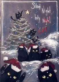 Katze, Weihnachtsbaum, Weihnachten, Zeichnungen
