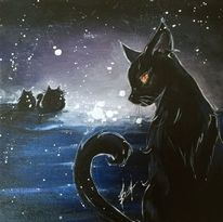 Nacht, Katze, Mond, Malerei