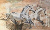 Weiß, Pferde, Tiere, Malerei