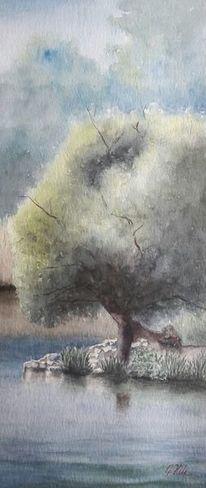 Havel, Baum, Wasser, Aquarell