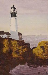 Küste, Meer, Leuchtturm, Malerei