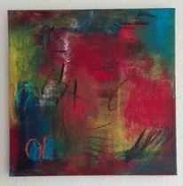 Rot, Informel, Komposition, Malerei