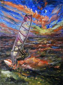 Nacht, Vision, Surfen, Malerei