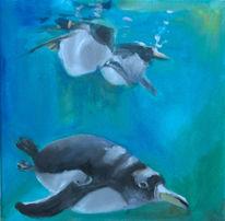 Pinguin, Acrylmalerei, Malerei