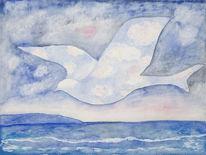 Vogel, Meer, Taube, Aquarellmalerei