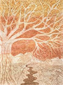 Aquarellmalerei, Landschaft, Fluss, Fangorn