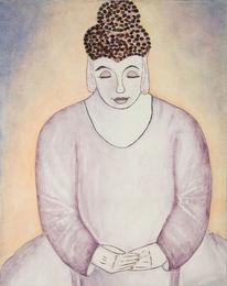 Buddha, Aquarellmalerei, Weiblich, Frau