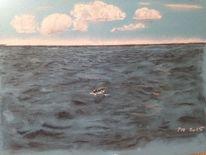Zeichnung, Kreide, Landschaft, Bleistiftzeichnung