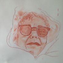 Zeichnung, Portrait, Rötel, Zeichnungen