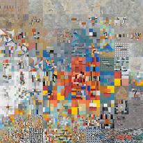 Collage, Stadt, Landflucht, Quadratur