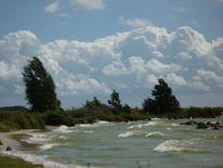 Ijsselmeer, Eis, Wolken, Blau
