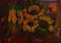 Malerei, Natur, Grün, Gelb