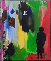 Junge, Abstrakt, Lauer, Malerei