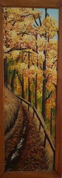 Herbst, Waldweg, Baum, Malerei