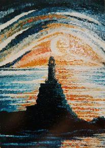 Nacht, Mond, Leuchtturm, Meer