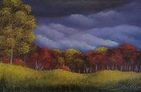 Wald, Wolken, Herbst, Malerei