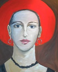 Roter hut, Frau, Malerei