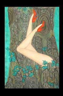 Akt, Harmonie, Ölmalerei, Natur