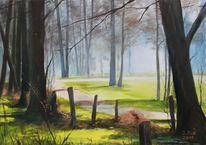 Baum, Ölmalerei, Nebel, Malerei