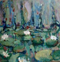 Seerosen, Grün, Malerei