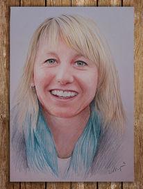 Portrait, Frau, Polychromos, Zeichnung