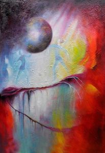 Geburt, Rot, Balance, Ölmalerei