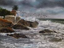 Malerei, Mar, Sturm, Mittelmeer