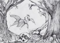 Baum, Bleistiftzeichnung, Fisch, Zeichnungen