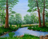 Baum, Acrylmalerei, Laubwald, Bach