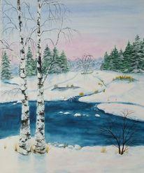Nadelbäume, Kleiner fluss, 2 birken, Schnee