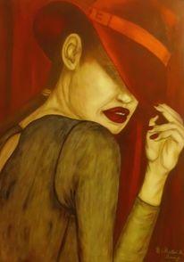 Geheimnisvoll, Frau, Rot schwarz, Malerei