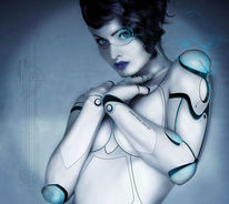 Blau, Figural, Android, Roboter