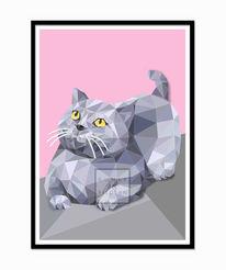 Modern, Digital, Katze, Britisch kurzhaar