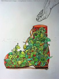 Mixed media, Schuhe, Moos, Bewuchert