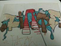 Dunst, Graffiti, Mischtechnik