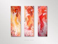 Modern, Acrylmalerei, Orange, Rot