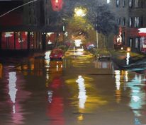 Malerei, Stadt, Acrylmalerei, Nacht