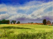 Himmel, Landschaft, Feld, Pastellmalerei