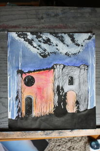 Science fiction, Aquarellmalerei, Tusche, Surreal