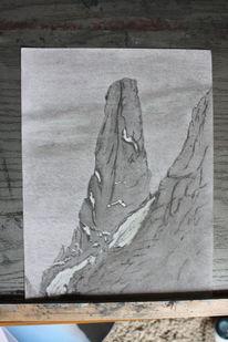 Kohlezeichnung, Bleistiftzeichnung, Alpen, Berge