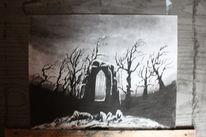 Gothic, Bleistiftzeichnung, Winter, Abstrakt